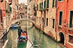 Gondola on canal in Venice Stock Photos