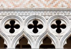 Detail of Doge's Palace facade, Venice - stock photo
