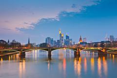 Frankfurt am Main at dusk, Germany - stock photo