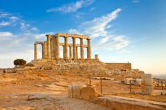 Ruins of Poseidon temple, Cape Sounion, Greece - stock photo