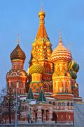 Saint Basil's cathedral at sunset - stock photo