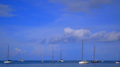 Wonderful Boats Sailing against Blue Sky. High-Speed Filming. Stock Footage