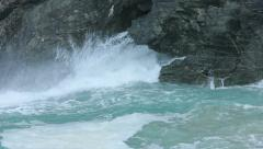 Coastal Rock Blowhole Spraying Turquoise Ocean Sea Water - 29,97FPS NTSC Stock Footage