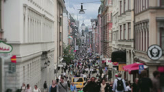 Crowded City Shopping Street Stockholm Sweden Editorial - 29,97FPS NTSC Stock Footage