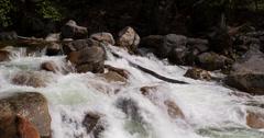 Rushing water down mountain rocks 4k Stock Footage