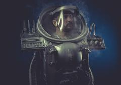 robot man in space armor silver - stock photo