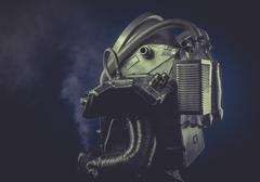 scifi, man with robotic armor, starfighter - stock photo