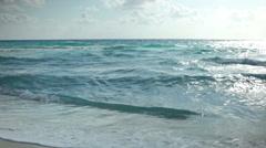 Beautiful blue ocean waves in sunshine Stock Footage