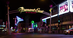 Downtown Fremont District in Las Vegas 4k Stock Footage
