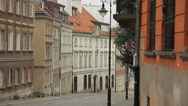 Street in the old town in Warsaw (unesco heritage site in Poland). Stock Footage
