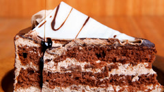 sweet brownie chocolate cream cake - stock footage