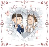 Just Married Couple in Jail Cartoon - stock illustration