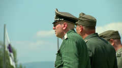 German soldiers during a WWII reenactment Stock Footage