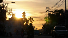Sunset Car Traffic in Thailand. High-Speed Filming. - stock footage