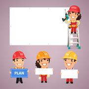 Builders Presenting Empty Banners - stock illustration