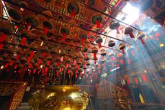 HONG KONG - 26 Jul, Man Mo temple in Hong Kong with many incense - stock photo