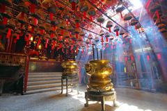 Man Mo Temple in Hong Kong, it is one of the famous temple. - stock photo
