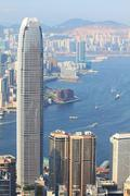 Hong Kong view at day time with mild blue tone Stock Photos