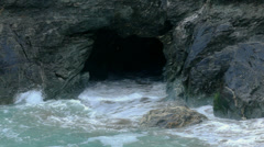 Atlantic Ocean Granite Rock Cave Tintagel Cornwall - 29,97FPS NTSC - stock footage