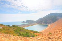 Seascape and coastal landscape in Hong Kong Geo Park - stock photo