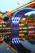 Fenghuang ancient town in Hunan Province at night - stock photo