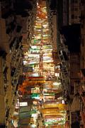 Temple Street with many booths in Hong Kong Stock Photos