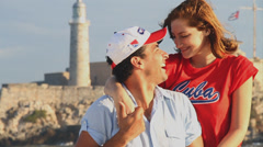 Cuban couple smiling make peace sign Stock Footage