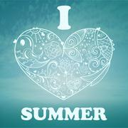 vector summer background with blue sky and sea - stock illustration