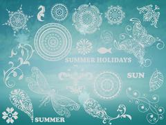 vector summer design elements - stock illustration
