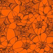 vector seamless pattern with  spider web on orange - stock illustration