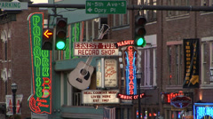Nashville Street Neon Signs Loop Stock Footage