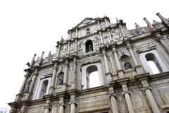 Ruins of St. Paul's landmark in Macau - stock photo