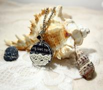 Necklace on shell Stock Photos