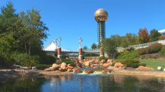 Knoxville Sunsphere and Pond Loop Stock Footage