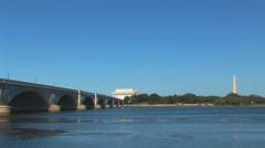 Arlington Memorial Bridge and Lincoln Memorial Loop Stock Footage