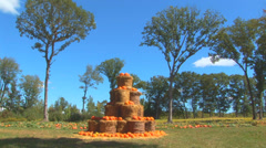 Stacked Pumpkins and Hay Bales Stock Footage