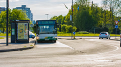 Bus Stopping At Bus Stop Stock Footage