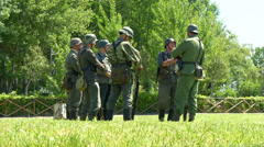 German soldiers during a WWII reenactment 04 - stock footage