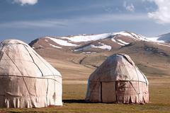 Real shepherd yurt in kyrgyzstan Tien Shan mountain, Son Kul lak Stock Photos