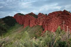 Jeti Oguz - famous Kyrgyz sandstone cliffs Seven bulls - stock photo