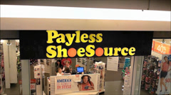 Payless Shoes storefront, shopping mall Stock Footage