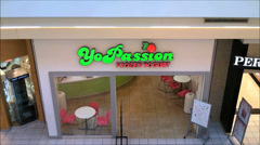 Frozen Yogurt eatery shopping mall Stock Footage
