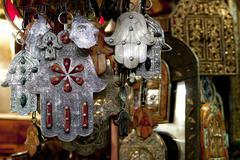 Moroccan Khamsa hamsa Hands of Fatima Good Luck in medina souk - stock photo