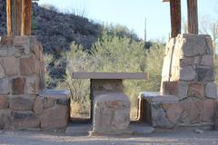 Desert Picnic Bench - stock photo