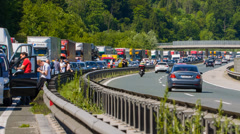 Summer Highway Traffic Jam Stock Footage