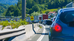 Traffic Jam Moving Slowly on Highway Stock Footage