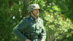 German soldiers during a WWII reenactment 05 - stock footage
