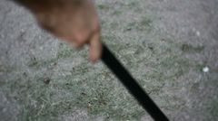 Sweep sweeping ground 2 Stock Footage
