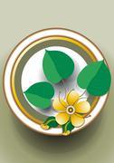 Oval frame with yellow flower - stock illustration