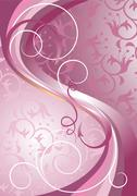 Waves and stripes on a light purple background - stock illustration